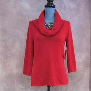 NEW Cable & Gauge Red Cowl Neck Sweater Top Size S